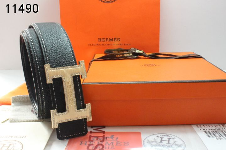 Cheap Belt with Golden H Buckle Mens Hermes Black Wholesale